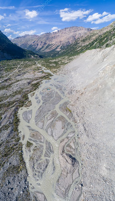 Glacial river, Swiss Alps, aerial photograph