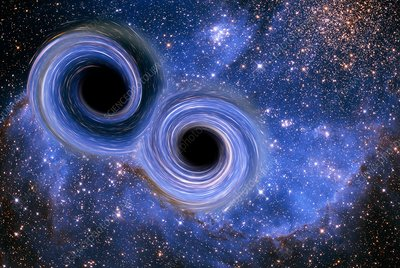 Colliding black holes, illustration