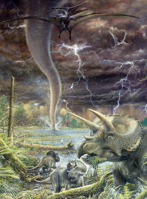Cretaceous dinosaurs and tornado, illustration