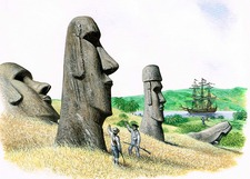 Discovering Easter Island statues, illustration