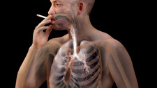 Man Inhaling Smoke in Lungs