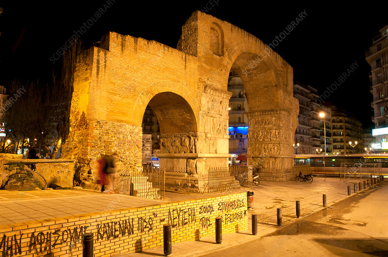 Arch of Galerius at night