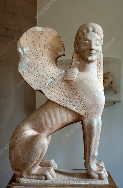 Winged sphinx statue