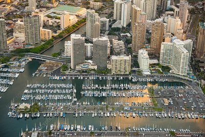 Waikiki and Ala Wai harbor, Hawaii, USA, aerial photograph