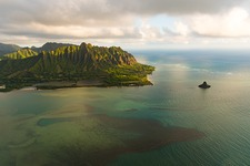 Mokolii Island, Oahu, Hawaii, USA, aerial photograph