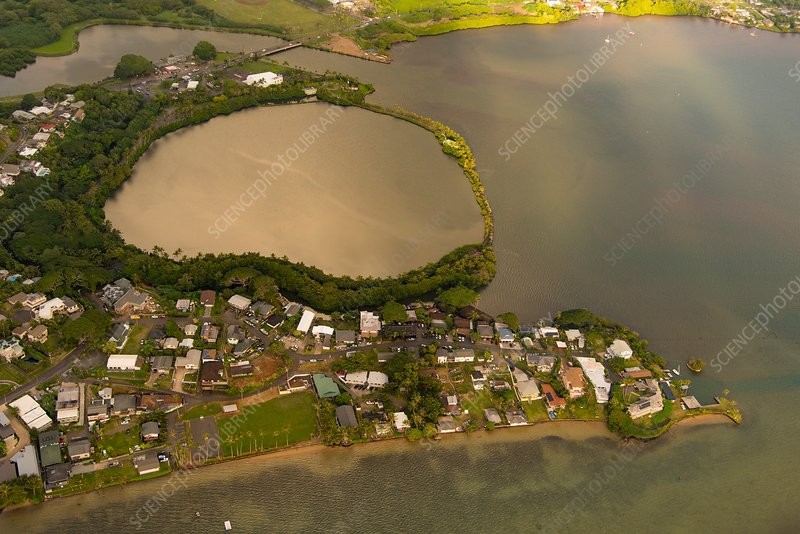 Traditional Hawaiian fishpond, aerial photograph
