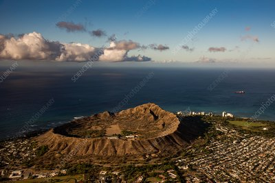 Diamond Head Crater, Hawaii, USA, aerial photograph