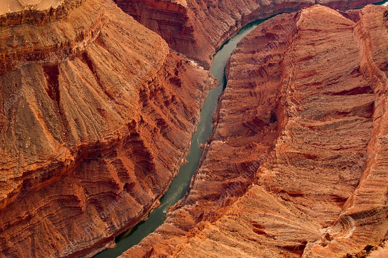 River flowing through canyon, aerial photograph