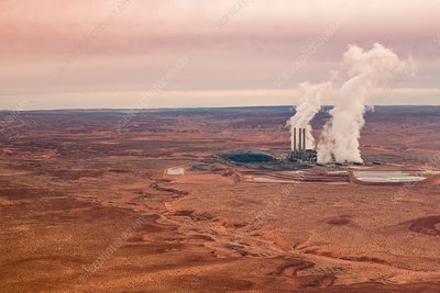 Coal power plant, Page, Arizona, USA, aerial photograph