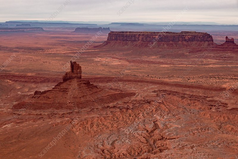 Monument Valley rock formations, USA, aerial photograph