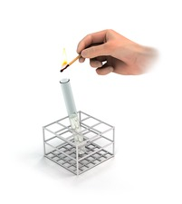 Burning splint test, illustration