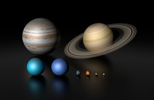 Planetary size comparison, illustration