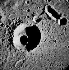 Korolev L crater on the Moon, Apollo 8 image, 1968