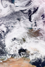 2018 Great Britain and Ireland cold wave, satellite image