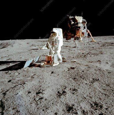 Apollo 11 astronaut Buzz Aldrin setting up experiment