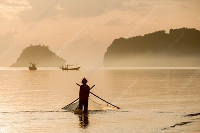 Krill fisherman in the gulf of Thailand