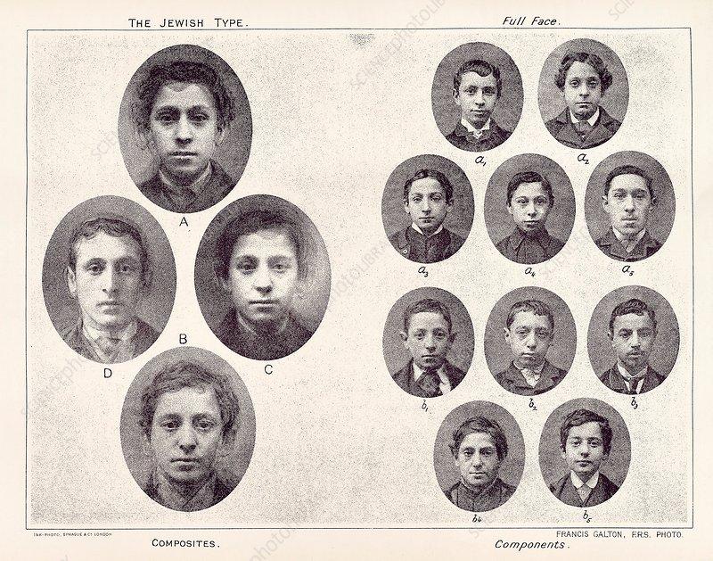 Galton's eugenics, Jewish portraits, 1870s - Stock Image