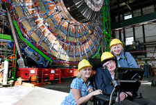 Stephen Hawking with visitors at CERN's CMS in 2006