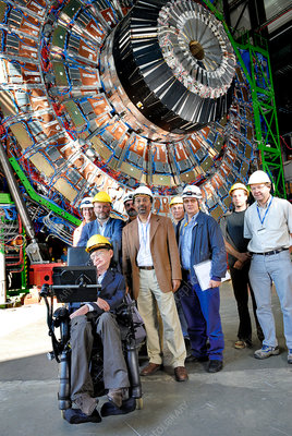 Stephen Hawking and scientists at CERN's CMS in 2006
