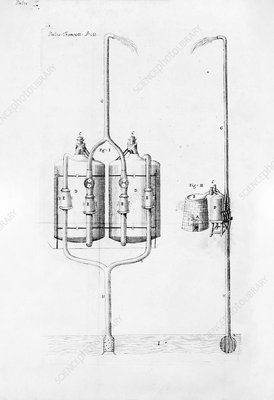 Savery's steam engine pump, 1699 illustration
