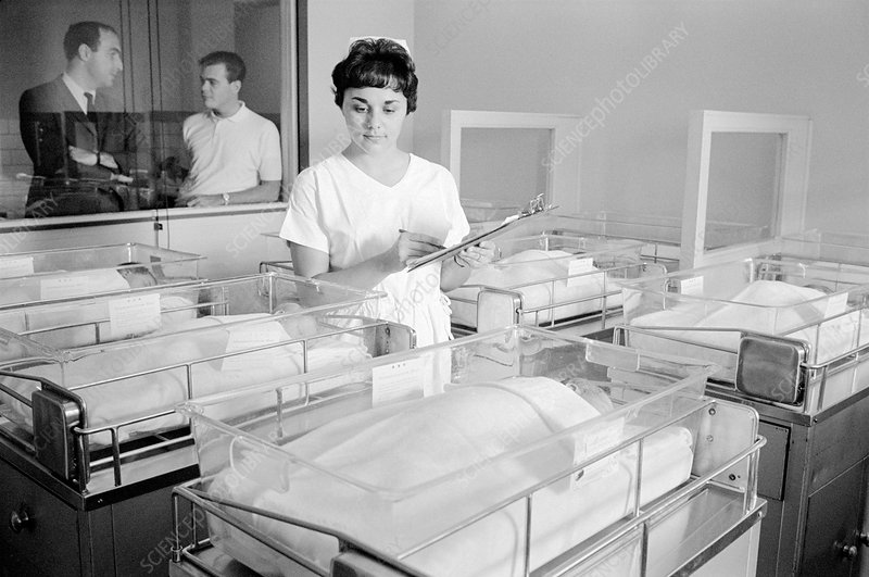 Newborn babies and nurse, 1960s