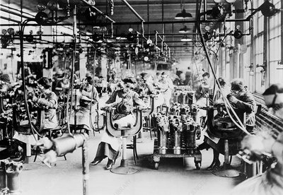 Welding area of a car factory during the First World War
