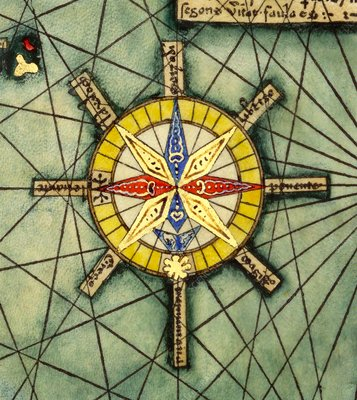 Compass rose from Catalan Atlas, 14th century