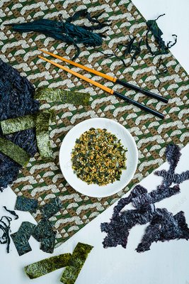 Assortment of seaweed, nori and wakame