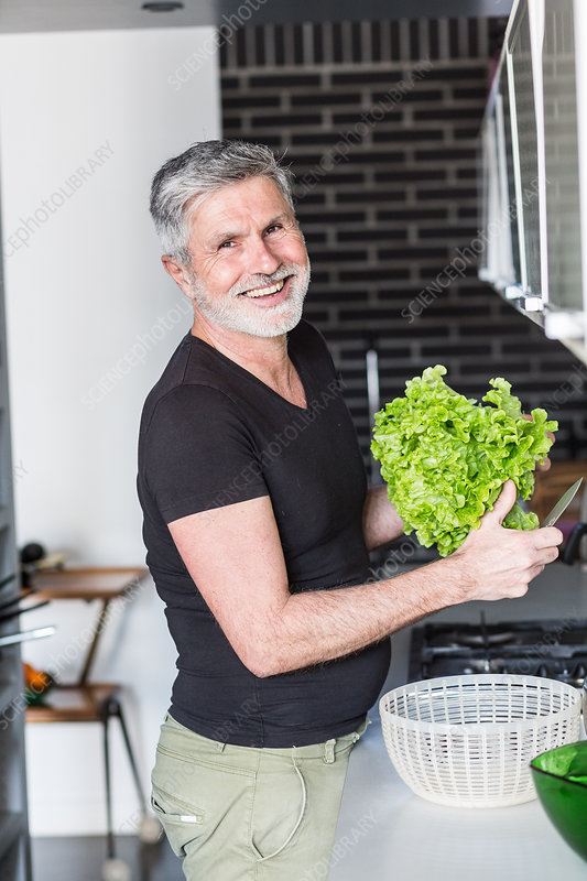 Man preparing a salad