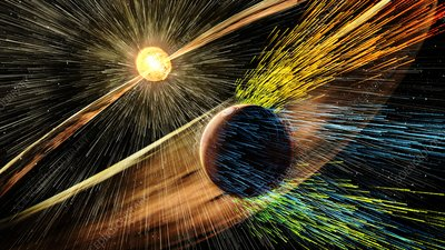 Solar storm stripping Martian atmosphere, illustration