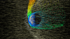 Solar wind strips the Martian atmosphere, illustration
