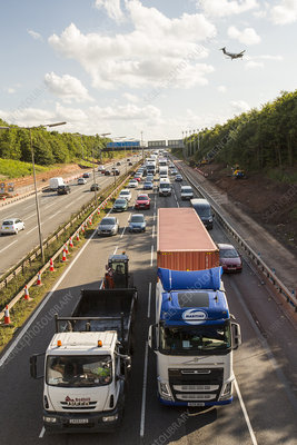 Tailbacks on the M1 motorway in the East Midlands, UK