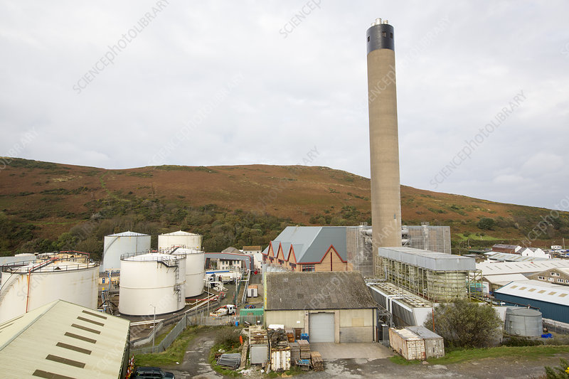 An oil fired power station in Peel on the Isle of Man, UK