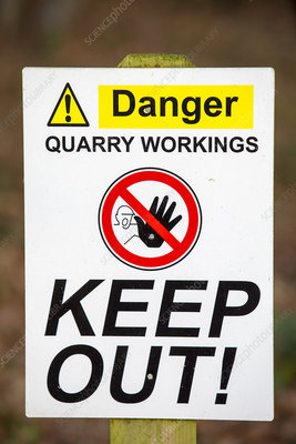 A warning sign at a quarry in Leicestershire, UK