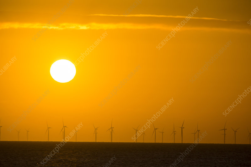 The sun setting behind the Walney Offshore Wind Farm, UK