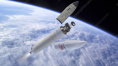 BepiColombo spacecraft launching from Earth, illustration