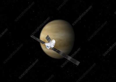 BepiColombo spacecraft flyby of Venus, illustration