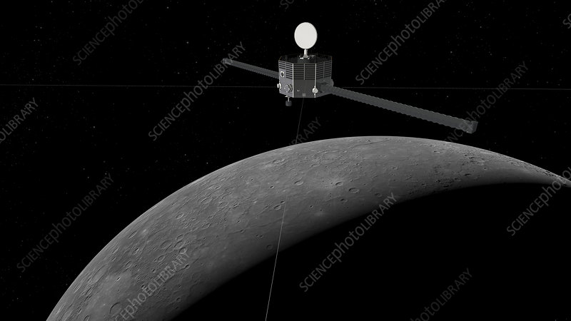 BepiColombo magnetospheric orbiter at Mercury, illustration