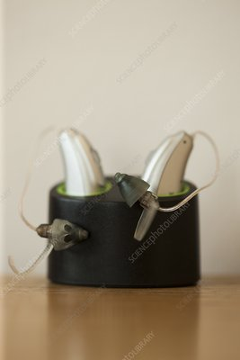 Close-up of hearing aids