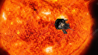 Parker Solar Probe approaching the Sun, illustration