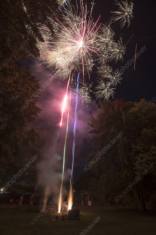 Home firework display, Michigan, USA