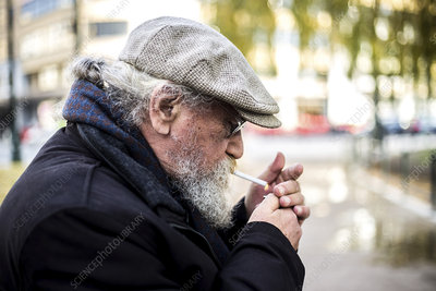 Man smoking outside