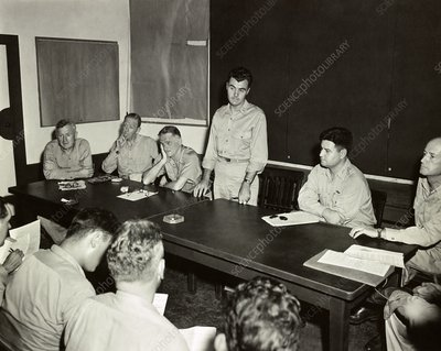 Briefing before first atomic bomb mission