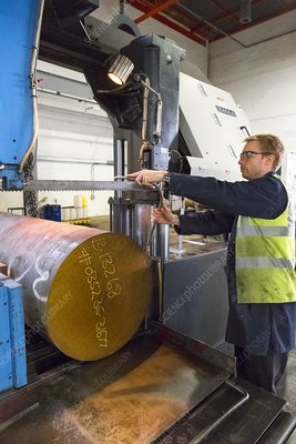 Cutting steel at metalworks, Scotland, UK