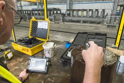 Quality control in metalworks, Scotland, UK