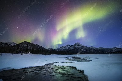 Aurora over an Alaskan river
