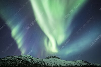 Aurora over mountains, Alaska
