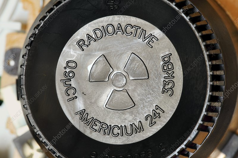 Radioactivity warning symbol in smoke alarm