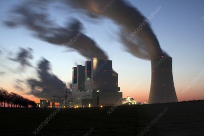 Neurath lignite-fired power stations at dusk
