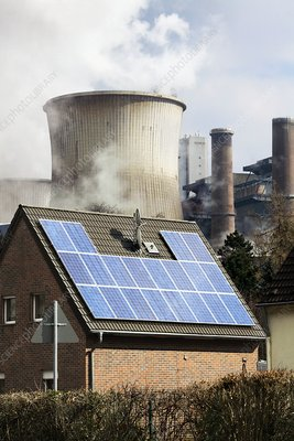 Rooftop solar panels and lignite-fired power station